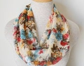 READY TO SHIP - Cream and Floral Crinkled Chiffon Infinity Scarf