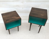 A Pair of Side Table Mid Century Modern Side Table Chocolate and TEAL Furniture Midcentury Bed Side Table End Table