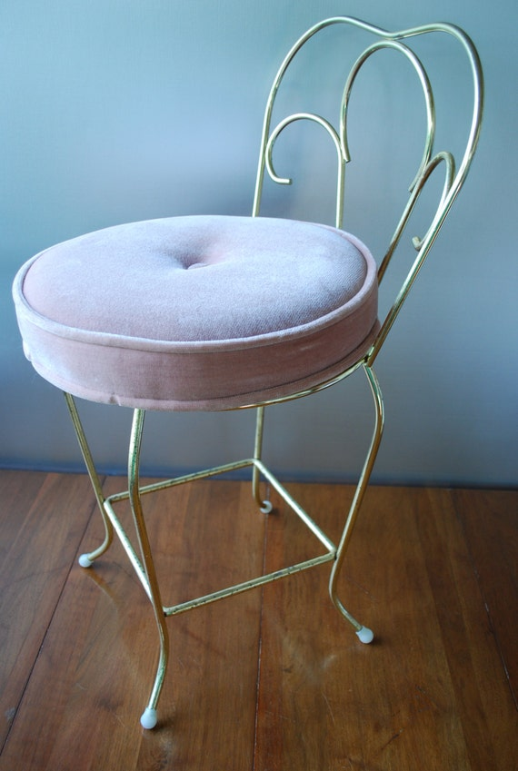 vintage vanity chair stool pink velvet seat brass finish
