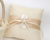 Wedding Ring Bearer Ivory Linen Pillow with Starfish and Mother of Pearl for Beach Weddings