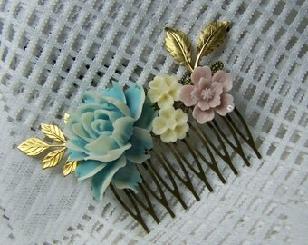Spring Flowers Hair Comb, Blue, White, Lavender, Cottage Rose, Large Rose, gold leaves, Bridesmaids hair piece, Flower hair comb, Easter