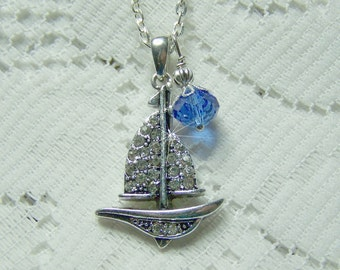 SAILBOAT Birthstone Necklace - Silver - You Choose Crystal - Rhinestone Crystal Pendant - Sailing - Boating - Nautical Boat - Sloop - Yacht
