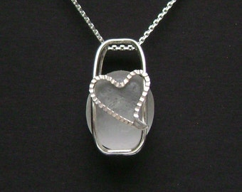 Sea Glass Jewelry - Sterling Caged White Sea Glass Heart Necklace