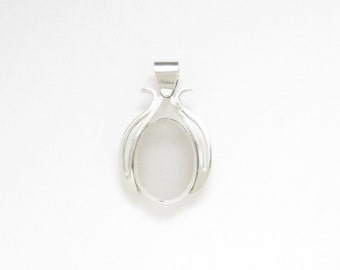Sea Glass Jewelry - Sterling White Sea Glass Pendant