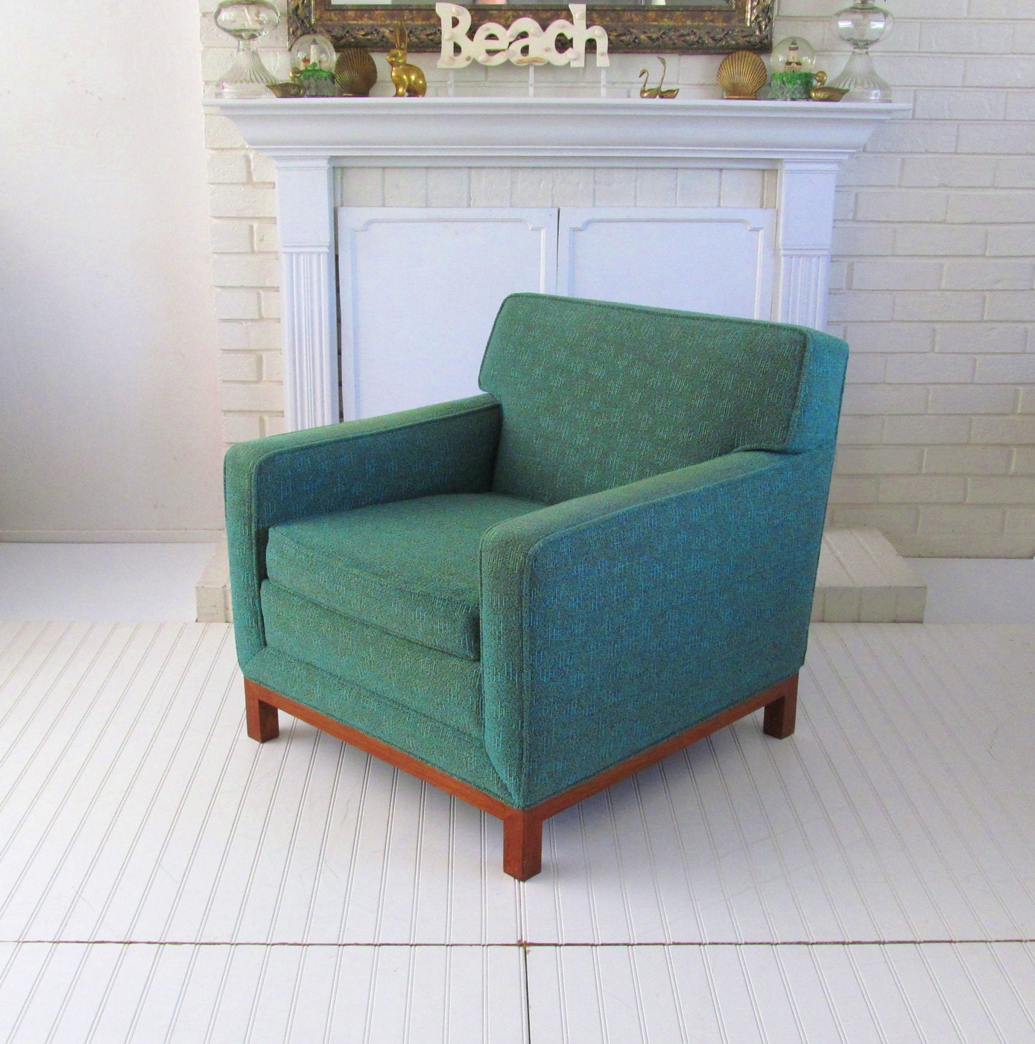 Mid Century Living Room Chair Upholstered Arm Chair Green
