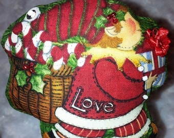Elf embellished stuffed ornament with love