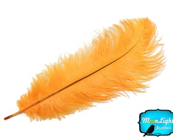 "Ostrich Plumes, 10 Pieces - 11-13"" GOLDEN YELLOW Ostrich Dyed Drabs Body Feathers : 290"