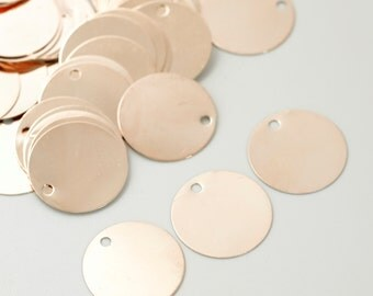 Sale - 10 Rose Gold Plated Drops Discs Blanks - 22mm - Easy to Stamp - Includes Handmade Jump Rings - 100% Guarantee