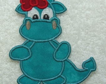 Girlie Dragon Fabric Embroidered Iron On Applique Patch Ready to Ship