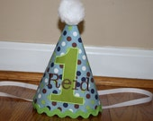 little boys 1st birthday hat, personalized boys birthday hat, blue and green dots, cake smash hatblue, first birthday outfit, birthday party