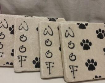 Woof Dog Paw Coasters