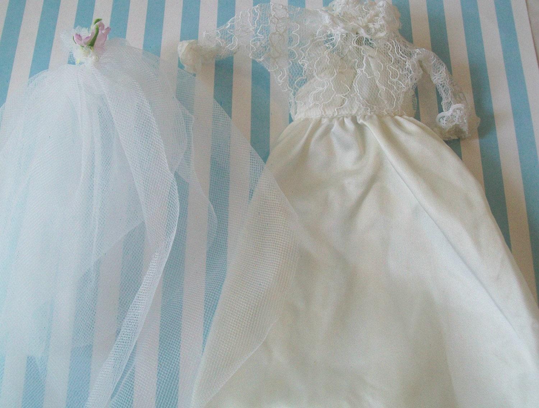 Sale vintage doll bridal dress veil wedding dress barbie for Barbie wedding dresses for sale