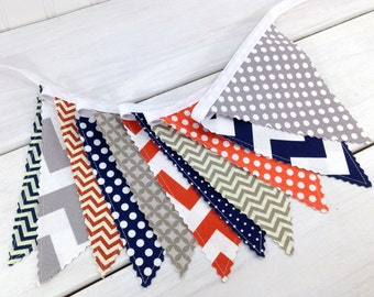 Bunting Banner, Photography Prop, Fabric Flags, Nursery Decor, Birthday Decoration - Gray, Orange, Navy Blue, Grey, Chevron, Dots