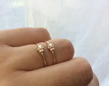 Gold Skull Ring, Skull Ring, Diamond Skull, Stacking Ring, Skull Jewelry, Skeleton Ring, Stacking Band, Gold Skull, Diamond Eyes, Tiny Skull