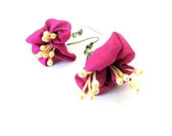 Fuchsia flower earrings, silk flower earrings, fiber blossom dangles, unique earrings for women