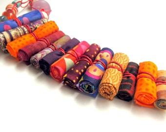 Artistic gift for her, artistic fiber necklace for her, colorful gift idea for her, her artistic gift,