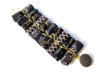 Gold and black urban bracelet, fashion fabric urban bracelet, urban fashion in black gold bracelet