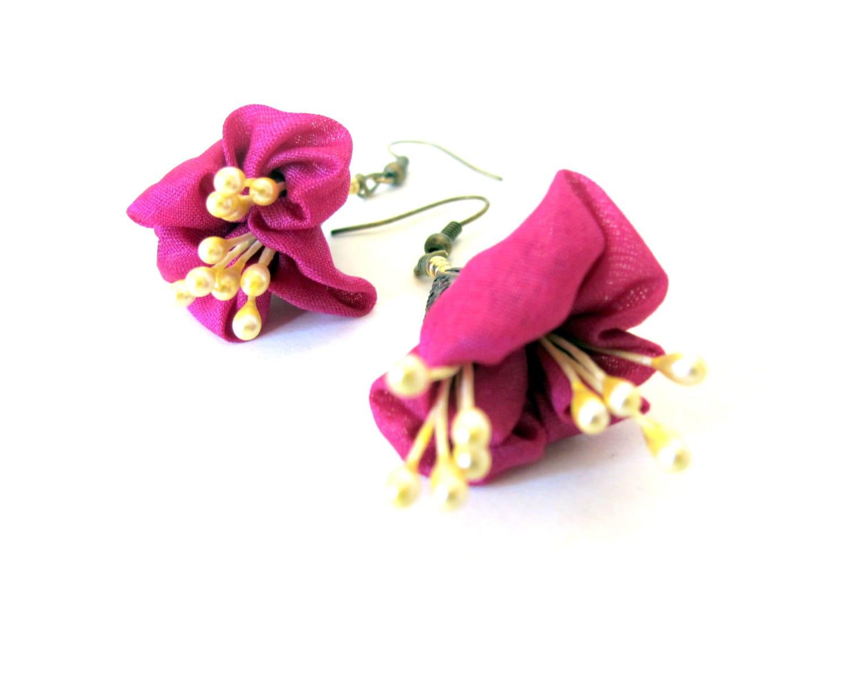 Fuchsia flower earrings silk flower earrings fiber blossom