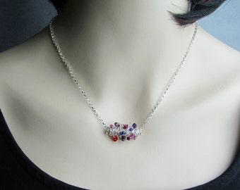 Crystal Tornado Necklace, Pink Necklace, Purple Necklace, Red Necklace, Twisted Wire Necklace, Sterling Silver Necklace Crystal Pendant