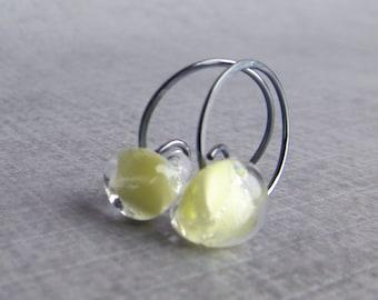 Light Yellow Hoops, Dark Silver Hoop Earrings, Yellow Earrings Small, Small Oxidized Wire Earrings, Oxidized Sterling Silver Earrings Hoops