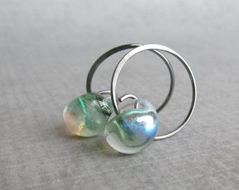 Spring Green Hoop Earrings, Light Green Earrings, Lampwork Earrings Green Glass Drops, Sterling Silver Small Wire Earrings, Dark Silver Hoop