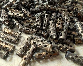 Oxidized Brass Filigree Tube Beads 4mm x 12mm - Lot Of 8