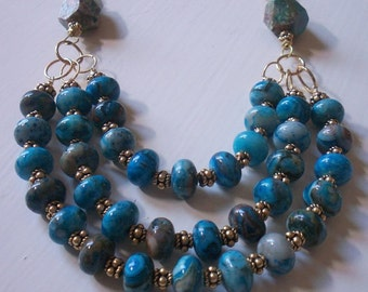 Gemstone Bib Necklace Gold Vermeil Gold And Crazy Lace Blue Agate