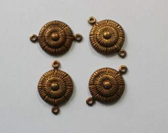 Oxidized Brass Art Deco Connector Findings