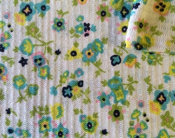 Vintage Fabric 60's Cotton, Polyester, White, Floral, Printed, Mod, Material, Textiles