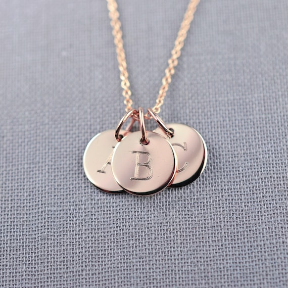 Mini solid 14k rose gold three initial necklace by for Rose gold letter charms