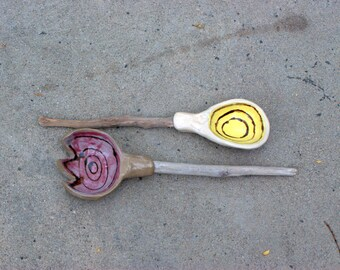 ceramic serving spoons with driftwood handle clay and wood