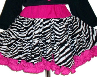 Zebra and Hot Pink Ruffled Twirly Skirt with Ruched Ruffle Hot Pink Trim.  Infant Toddler and Girls 12-18M 2t 3t 4t 5 6 7 8 10 12 14 16