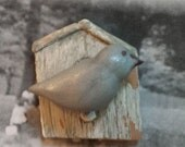 Cottage Chic Bird and Birdhouse - distressed Magnet