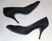 Womens Vintage  1950'S Black Silk Jacquard Fabric Covered  Size 7 Pointy Toe  Stiletto High Heeled   Pumps Pointy Toe Pin Up Rockabilly