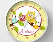 Happy Owls in a Tree Yellow Background, Pink and Yellow Owl, Choose frame color, hands, and personalization
