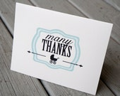 Many Thanks Baby Shower Thank You Card, Baby Thank You, Baby Boy Thank You Card