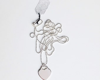 Sterling Silver Heart Charm on a Long Ball Chain Necklace