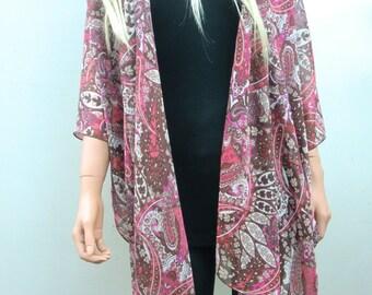Kimono cardigan Brown and pink, Chiffon oversized kimono ruana- Paisley like print-Layering piece-Many colors