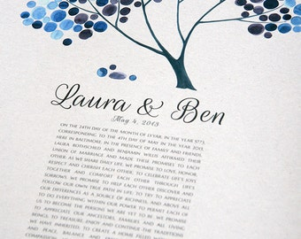 Wedding Ketubah art print Symbolic tree of life - Marriage certificate featuring Tree of Life and Love Birds - Blue Safari Tree by Elena