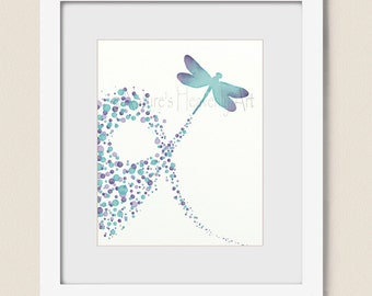 Turquoise and Purple Girls Wall Art 16 x 20 Print for Home Decor, Dragonfly Wall Art for Girls Room, Dragonfly Art Print (11)