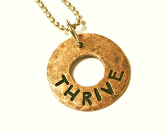 THRIVE Copper Charm Pendant, Hammered Washer Charm, Hand Stamped, Rustic, Organic, Can be Customized