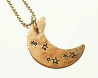 MOON and STARS Copper Pendant, Hand Cut, Hammered and Stamped, Rustic, Organic, Celestial, Space