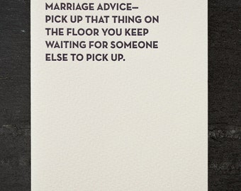 marriage advice. letterpress card. #901