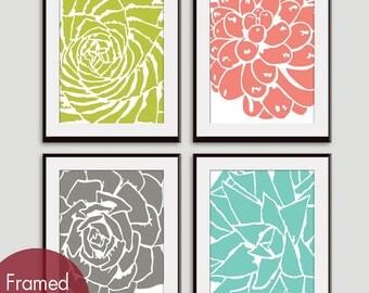 Modern Succulent Botanicals (series B) - Set of 4 - Art Prints (Chartruese, Coral Rose, Gravel and Robins Egg) Desert Rose Art Prints