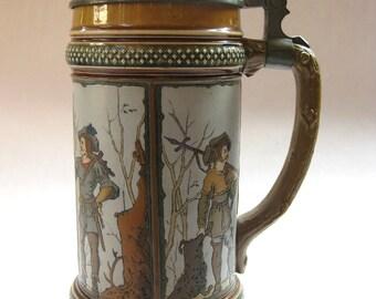 """Antique German Mettlach Beer Stein #1695 Circa 1890's """"Four Hunter Panels"""""""