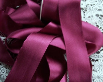 Pure SILK SATIN  Ribbon  Burgundy Color 1 1/2 inch 36 mm  wide  3 yds