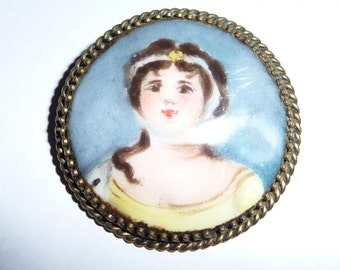 Vintage Hand Painted Porcelain Miniature Portrait Brooch Pin on Etsy