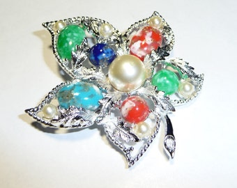 Vintage Sarah Coventry Fantasy Multi Stone & Faux Pearl Brooch Pin on Etsy