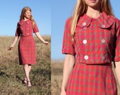 S M Vintage 50s Day Dress Mad Men Style Womens Small - Medium Retro Style Plaid Check Handmade