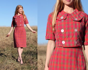 S M Womens Vintage 50s Midi Dress Mad Men Style Plaid Small Medium Retro Style Plaid Check Handmade